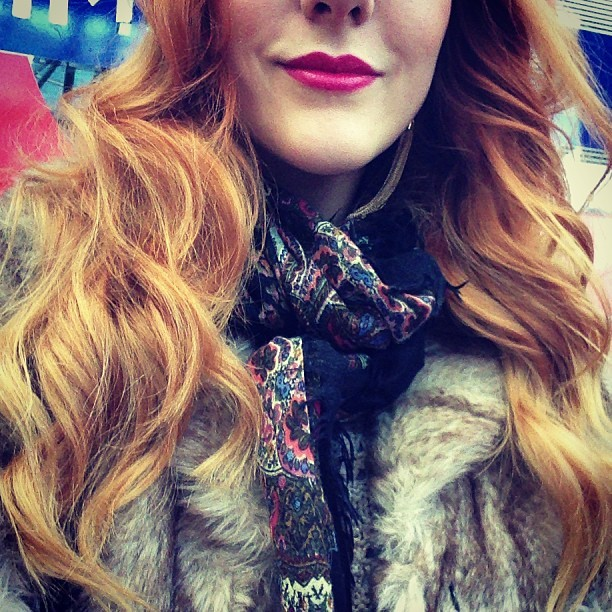 #todayimwearing 02 #Kate Pink lips & curly locks with a dash of paisley, wrapped in M&S #peruna faux fur today for my office Christmas party! #Fashion #style #blogger #whattowear #inspiration #photo #me #girl #redhead #hair #print #fblogger #clothes #ootd #wiwt #instapic #outfit #whatiwore #igdaily #london #fashiondiaries #aw12 #instafashion
