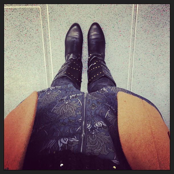 #todaywearing cont. with studded tassley knee high boots, my @topshop floral grunge dress (worn as a pinafore over a black bodytop, skinny Primark jeans and a camel coat. #Fashion #style #blogger #whattowear #inspiration #photo #me #girl #redhead #hair #print #fblogger #clothes #ootd #wiwt #instapic #outfit #whatiwore #igdaily #london #fashiondiaries #aw12 #instafashion