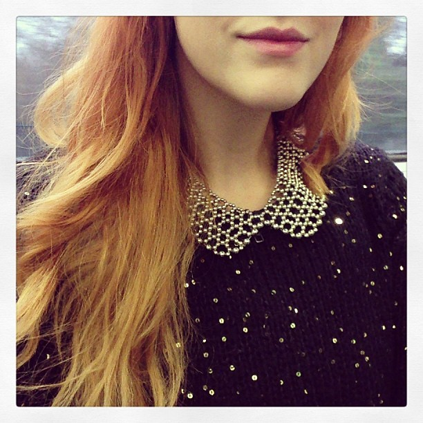 #todaywearing my sequin covered #VeroModa jumper & my @topshop gold beaded collar necklace. #Fashion #style #blogger #whattowear #inspiration #photo #me #girl #redhead #hair #print #fblogger #clothes #ootd #wiwt #instapic #outfit #whatiwore #igdaily #london #fashiondiaries #aw12 #instafashion