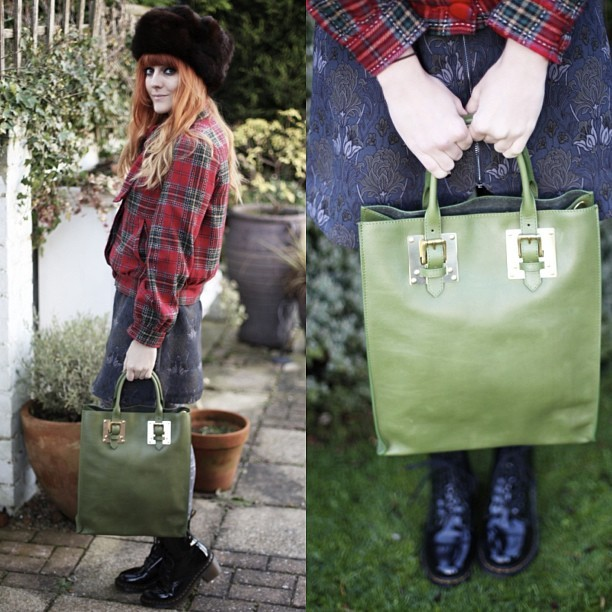 Did you see today's festive new lucieloves.co.uk blog post featuring @ybdfashion's Sophie Hulme Green Tote bag? Wearing: vintage fur hat? Tartan Primark bomber jacket, @tightsplease fairisle tights, @drmartensofficial clemency boots and my @topshop Boutique Floral Grunge Dress.