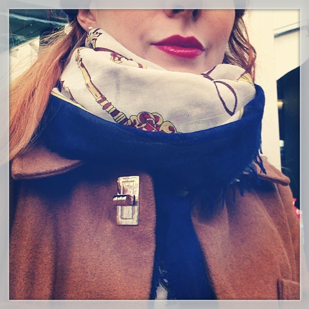 Feeling a bit tired this Monday morning so have put on a bit of @YSLBeautyUK Rouge pur couture glossy lip stain in #No10 red, wearing a large vintage-style printed scarf by @River_Island, a @hmunitedkingdom navy blue shirt dress, deep red ribbed wool @topshop tights and a #primark camel coat & boots. #Fashion #style #blogger #whattowear #inspiration #photo #me #girl #redhead #hair #print #fblogger #clothes #ootd #wiwt #instapic #outfit #whatiwore #igdaily #london #fashiondiaries #aw12 #instafashion