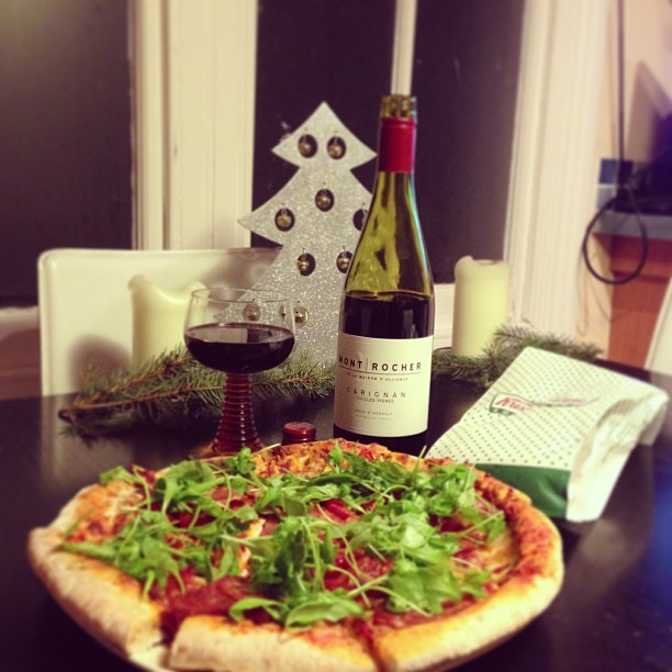 Friday night = Pizza, a glass of Mont Rocher Carignan red wine (as recommended by the nice @thegoodwineshop man at Kew) and a Krispy Kreme Christmas tree donut.