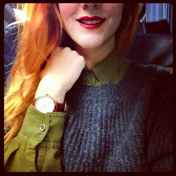 Cosy as you like… I flipping love my @ZoeJordanStudio #TheGrosvenor Cashmere & Silk mix jumper, layered up with my @topshop casual military shirt and a slick of @dior Diorific No. 14 Dolce Vita Red Lipstick. #Fashion #style #blogger #whattowear #inspiration #photo #me #girl #redhead #hair #print #fblogger #clothes #ootd #wiwt #instapic #outfit #whatiwore #igdaily #london #fashiondiaries #aw12 #instafashion #youngbritdesigners