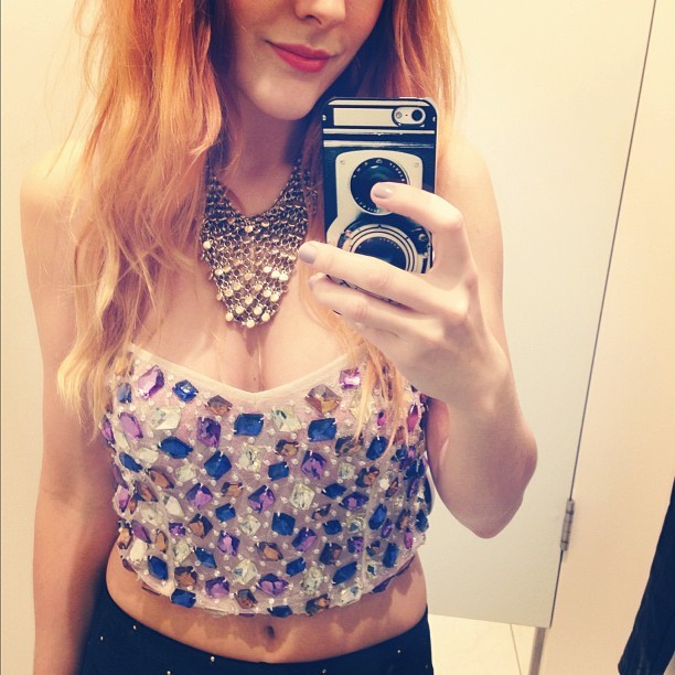 What do you think? I #LOVE this gem-encrusted top @topshop but is it too #Bling? #Fashion #style #blogger #whattowear #inspiration #photo #me #girl #redhead #hair #print #fblogger #clothes #ootd #wiwt #instapic #outfit #whatiwore #igdaily #london #fashiondiaries #aw12 #instafashion