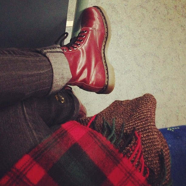 Heading home after a hard days work wearing my @drmartensofficial #CherryRed #1460's, a #vintage tweed coat, skinny jeans and my DM's tartan scarf. #Fashion #style #blogger #whattowear #inspiration #photo #me #girl #redhead #hair #print #fblogger #clothes #ootd #wiwt #instapic #outfit #whatiwore #igdaily #london #fashiondiaries #aw12 #instafashion