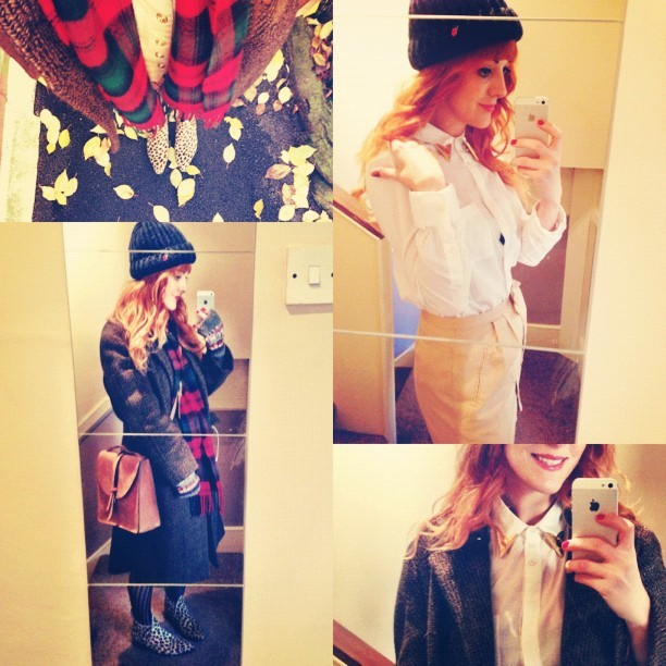 #todayimwearing @topshop white shirt, Kansas gold collar tips @eBay, @redbywolves @ybdfashion #Albia Leopard #Ponyskin Chelsea Boots, @tightsplease @charnoshosiery stripe tights, #topshop button-down skirt, vintage over-sized Rensor London tweed coat, #youngbritishdesigners @thehulot #Prussia bag, @drmartensofficial tartan scarf. @urbanoutfitters chunky knit hat. #Fashion #style #blogger #whattowear #inspiration #photo #me #girl #redhead #hair #print #fblogger #clothes #ootd #wiwt #instapic #outfit #whatiwore #igdaily #london #fashiondiaries #aw12