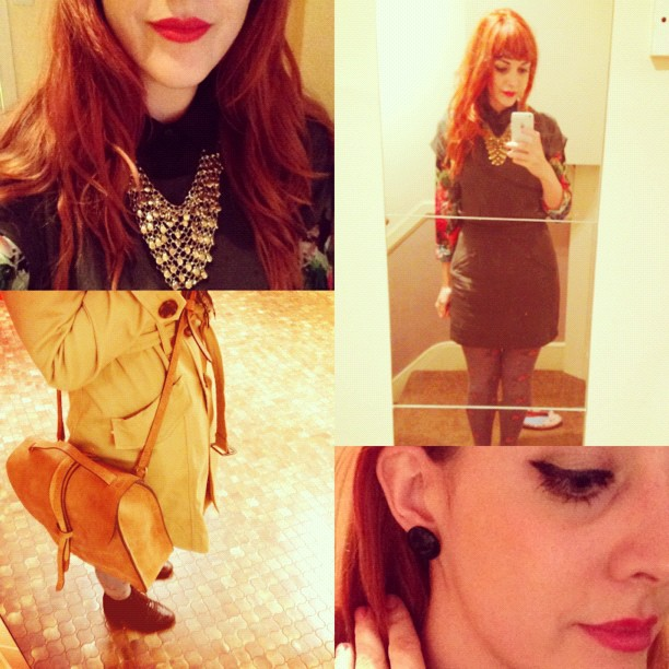#todayimwearing my @forever21 trench, khaki silk dress & chain mail necklace, a @zaraclothes floral print blouse, @topshop rose wool tights, brown #primark lace-up ankle boots, @ybdfashion @thehulot #prussia tan leather satchel,  black oversized stud earrings and #ChristianDior Diorific #DolceVitaRed lips. #Fashion #style #blogger #whattowear #inspiration #photo #me #girl #redhead #hair #print #fblogger #clothes #ootd #wiwt #instapic #outfit #whatiwore #igdaily #london #fashiondiaries #aw12