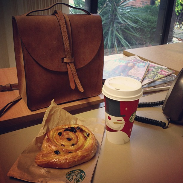 Mmm! @ybdfashion's @TheHulot #Prussia Leather Satchel is the best @Starbucks Pain Aux Raisin carrier I've ever seen. The Toffee Nut Latte is pretty special too! A great way to start a chilly Thursday morning! #Fashion #style #blogger #whattowear #inspiration #photo #me #girl #starbucks #fblogger #handbag #ootd #wiwt #instapic #outfit #whatiwore #igdaily #london #fashiondiaries #aw12 #leather #satchel #youngbritishdesigners