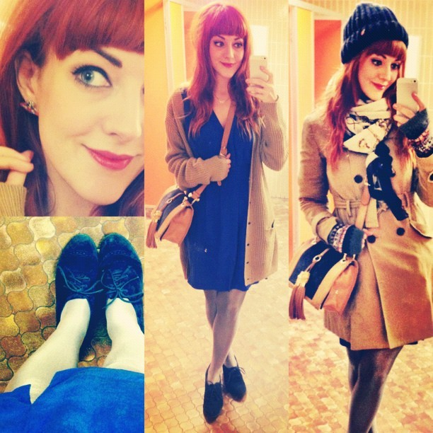 #todayimwearing my @WareStyle electric blue silk dress, @river_island navy suede shoes, @reiss #Brewer bag, @forever21 trench coat, @urbanoutfitters chunky knit hat, #Primark camel oversized cardigan and silver tights. #Fashion #style #blogger #whattowear #inspiration #photo #me #girl #redhead #hair #print #fblogger #clothes #ootd #wiwt #instapic #outfit #whatiwore #igdaily #london #fashiondiaries #aw12