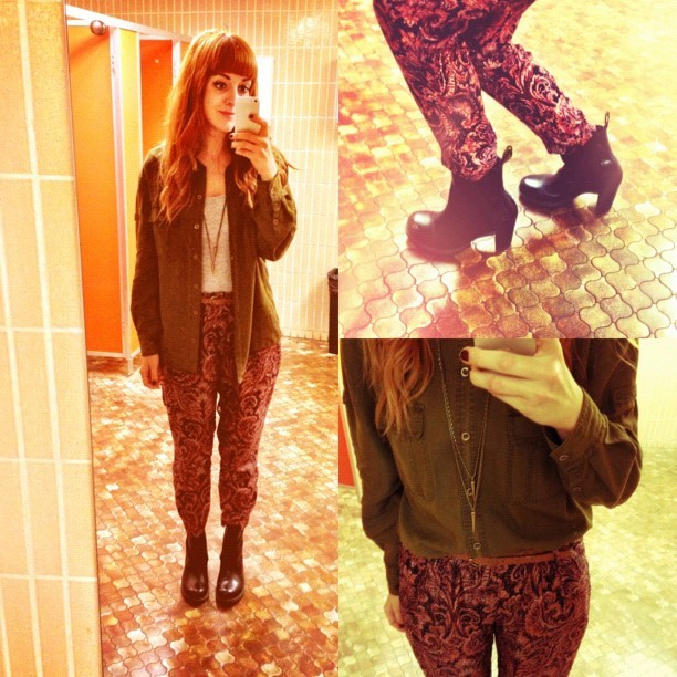 #todayimwearing my @zara @zaraclothes mulberry silk paisley print trousers, a @topshop casual military shirt over a grey bodytop, @drmartensofficial #Darla heeled #ChelseaBoots and a long spike #topshop Pendant necklace. #Fashion #style #blogger #whattowear #inspiration #photo #me #girl #redhead #hair #print #fblogger #clothes #ootd #wiwt #instapic #outfit #whatiwore #igdaily #london #fashiondiaries #aw12