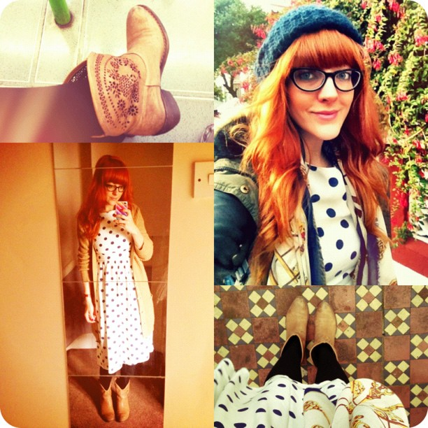 #todayimwearing my @topshop navy & white polkadot midi dress, @ybdfashion @LamaPeach #Paige boots, black wool tights, layered up with a grey marl #Linea top (worn underneath) and a camel chunky knit #primark cardigan. Parka: Primark, Hat: Topshop, Scarf: @river_island  & Specsavers #glasses. #fashion #style #blogger #whattowear #inspiration #photo #me #girl #redhead #hair #print #fblogger #clothes #ootd #wiwt #instapic #outfit #whatiwore #igdaily #London #fashiondiaries #glasses  (Taken with  Instagram )