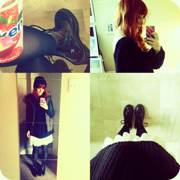 #todayimwearing an oversized black chunky knit @topshop jumper, a cream lace #primark dress, black tights & @drmartensofficial #clemency patent DM's with a mini heel! (Parka jacket: Primark & Woolly hat: #Topshop) #Fashion #style #blogger #whattowear #inspiration #photo #me #girl #redhead #hair #print #fblogger #clothes #ootd #wiwt #instapic #outfit #whatiwore #igdaily #london #fashiondiaries #aw12 #onken  (Taken with  Instagram )