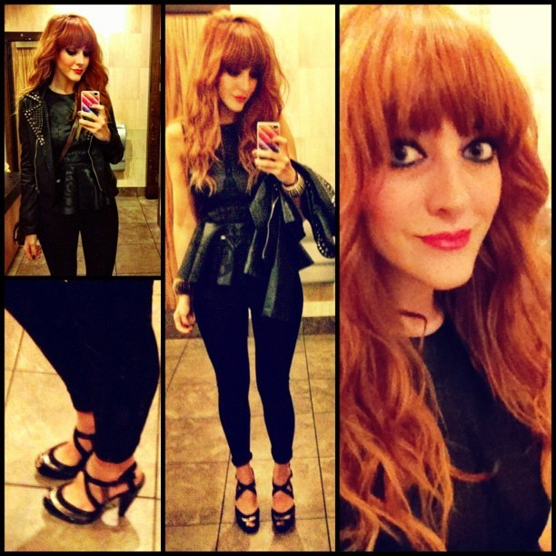 Last night's (#todayimwearing) #ootd. My @topshop shiny #discopants, my @zaraclothes embroidered leather peplum top (it's first real outing!) my #GoldieLondon @michgoldie studded faux-leather biker jacket and my (@amylawrenson @elleuk inspired) @yourmands patent black peep-toe stilettos! Such comfy heels! #Armcandy was a pair of spiked cuffs from #topshop. Hair/ Make-up: I opted for a smoky cats-eye flick using a combination of the @beccacosmetics #BalearicLove Eye-shadow Palette and #UrbanDecay #Naked2 smoky brown colours, my favourite @Dior #Diorshow #Extase mascara, #Rimmel Liquid Eyeliner & kohl pencil, (all in black), finished off with messy beach-style wavy hair and #MaxFactor #SalsaRed Colour Effect #Flipstick lips! #Fashion #style #blogger #whattowear #inspiration #photo #me #girl #redhead #hair #print #fblogger #clothes #ootd #wiwt #instapic #outfit #whatiwore #igdaily  (Taken with  Instagram )