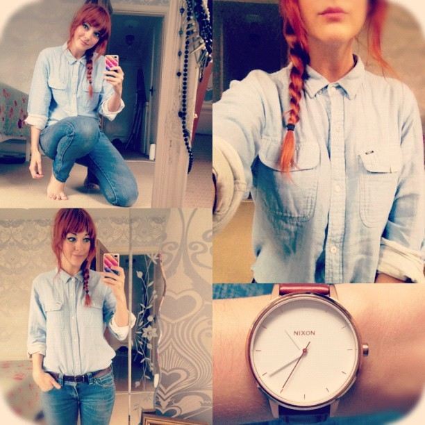 #todayimwearing @jmgcreative's @obeyclothing @obeyclothingUK pale blue #Chambray shirt, @LEVIS #PattyAnne skinny jeans & my @Nixon_Now #TheKensington watch. #Fashion #style #blogger #whattowear #inspiration #photo #me #girl #redhead #hair #fblogger #clothes #ootd #wiwt #instapic #outfit #whatiwore #igdaily #nixon #watch #OBEY #Plait #ootdmagazine #casual #instagood  (Taken with  Instagram )