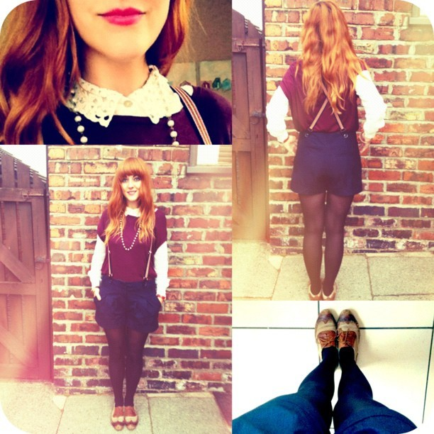 #todayimwearing my #primark navy blue shorts & stripey braces, @topshop sheer cream crochet collar blouse & oxblood tshirt, @pamela_mann tights, a pearl necklace and my brogues with a sweep of L'Oreal Rouge Caresse Lipstick #202 #fashion #style #blogger #whattowear #inspiration #photo #me #girl #redhead #hair #print #fblogger #clothes #ootd #wiwt #instapic #outfit #whatiwore #igdaily  (Taken with  Instagram )