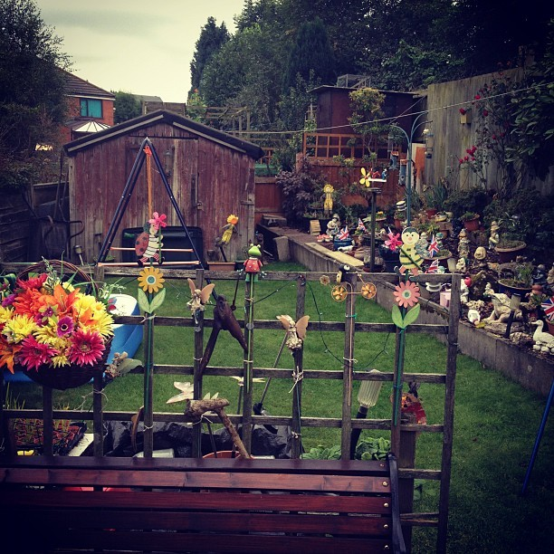 Decent gnome collection at at Grandma @holliekav @avaandrubysmama's #photo #garden #gnome #igdaily #bestoftheday  (Taken with  Instagram )