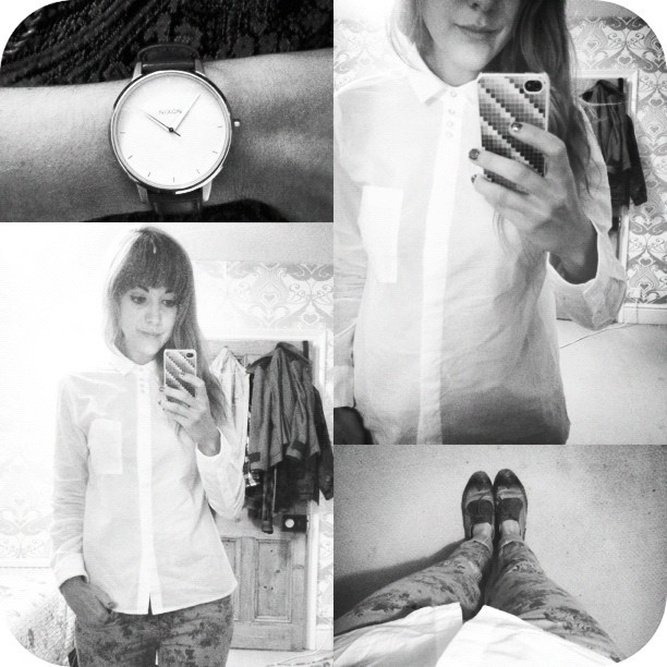 #todayimwearing my new @topshop £20 white shirt, with tan #Primark floral skinny jeans & #topshop Kameryn Brogues. I've wanted a white shirt for a while and decided that I'd buy this one as it has cute little buttons at the top near the collar. I've bought it to wear under pretty dresses as seen in @glamouruk #October edition (pg157 #fastglamour & pg247 #style100 ) #fashion #style #blogger #whattowear #inspiration #photo #me #girl #redhead #hair #print #fblogger #clothes #ootd #wiwt #instapic #outfit #whatiwore #igdaily #bestoftheday  (Taken with  Instagram )
