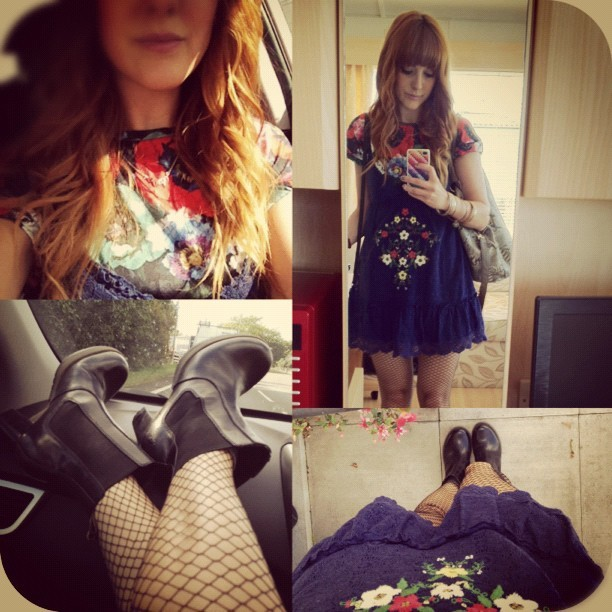 #todayimwearing my @topshop oversized poppy tee, a @forever21 embroidered sundress, @tightsplease #Burleqsue Midi-net hold-ups, & my @drmartens heeled Chelsea boots. #Fashion #style #blogger #whattowear #inspiration #photo #me #girl #redhead #hair #print #fblogger #clothes #ootd #wiwt #instapic #outfit #whatiwore #igdaily  (Taken with  Instagram )