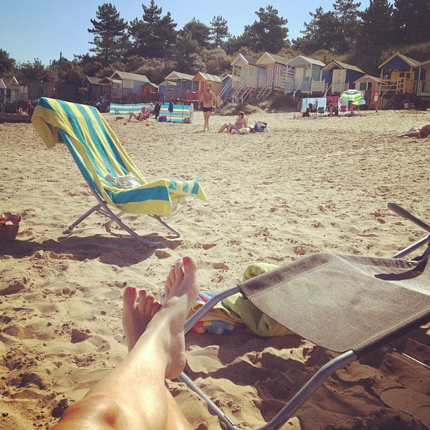 Woo hoo! Hello birthday! A spot of sunbathing on the beach at Wells-Next-The-Sea #hotterthanthesun #summer #holiday #norfolk #beach #beachhuts #british #sunshine # igdaily #instapic  (Taken with  Instagram )