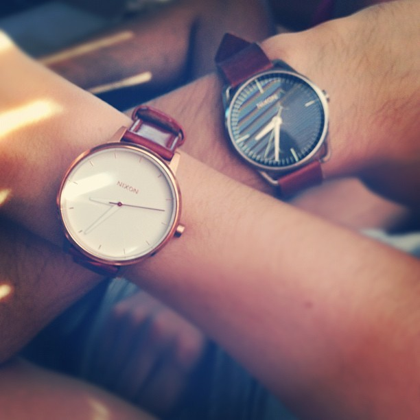 His & Hers @Nixon_Now Watches. @jmgcreative #TheMellor and mine #TheKensington #watch #photo #present #boyfriend #girlfriend #accessory #instapic #love #igdaily #birthday  (Taken with  Instagram )