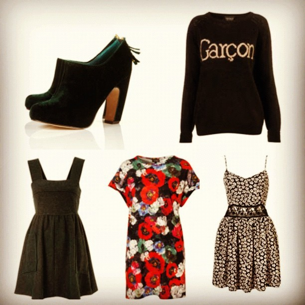 #AW12 wardrobe stock-up… #WhatIBought today… @Topshop Graphic Green Velvet Curve Boots £60, Garçon Knitted Jumper £40, Green Boucle Pinafore £30, Oversized Poppy Tee £25 and a Floral Crochet Waist Sundress £38. #Fashion #style #blogger #shoes #whattowear #inspiration #photo #me #girl #print #fblogger #clothes #instapic #outfit #whatiwore #igdaily #wardrobe (Taken with  Instagram )
