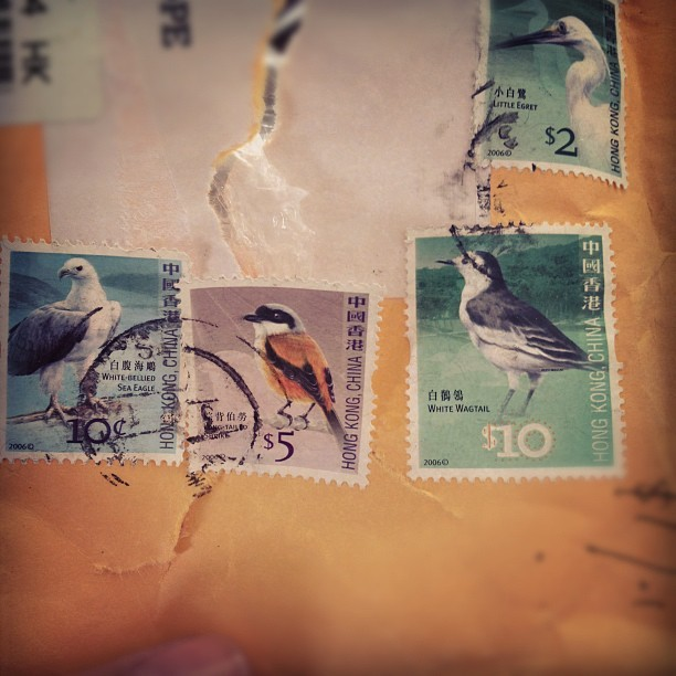 Just clearing out drawers under the coffee table and saw these beautiful #HongKong #Bird stamps! Nice!  (Taken with  Instagram )