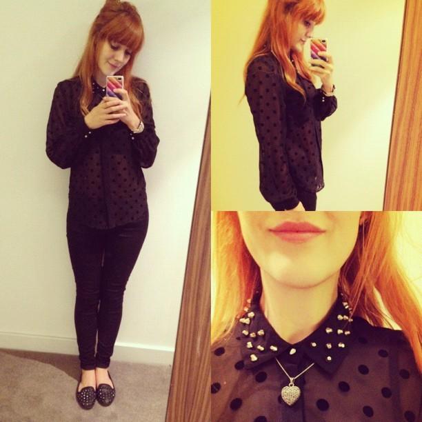 Yesterday's #todayimwearing #outfit number 2 after the button popping incident. A sheer (bit too sheer for the office :-S) polkadot & studded collar #primark shirt, @topshop #leigh black skinny jeans & #vectra studded pumps. I'm not used to wearing all black! #fashion #blogger #style #wardrobe #malfunction #whattowear #studs #me #girl #photo #ootd #inspiration #shoes #iphone #selfie (Taken with  Instagram )