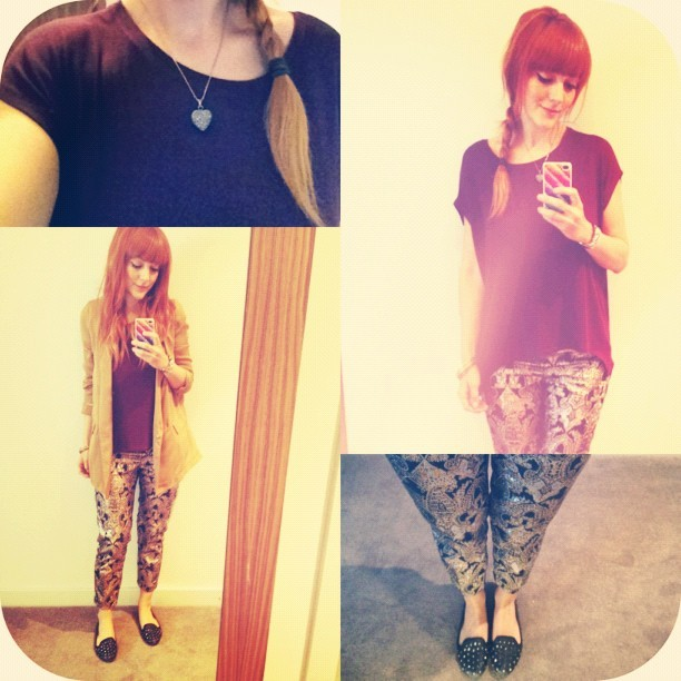 #todayimwearing my new @topshop #metallic #paisley #jacquard #cigarette trousers, £45, oversized plum coloured slouchy tee, £14, #Vectra studded pumps with my @hmunitedkingdom #tan #boyfriend #blazer thrown over the top. #fashion #style #blogger #workwear #whattowear #wiwt #ootd #topshop #hm #girl #me #outfit #redhead #hair #bloggerstyle #instapic #instagram #picoftheday #iphone  (Taken with  Instagram )