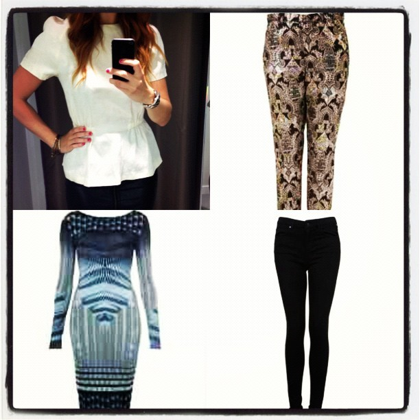 NEW additions to my SS-AW12 transitional wardrobe. @Topshop Paisley Jacquard Cigarette Trousers, £45, Leigh black skinny jeans, £38 & #Geometric #Print #Bodycon #Dress, £36 and a silky cream #Peplum top, £29.99 from @hmunitedkingdom. #nowthatswhaticallshopping #fashion #inspiration #whattowear #whattobuy #trend #blogger #musthave #girl #wardrobe #highstreet #Topshop #hm (Taken with  Instagram )
