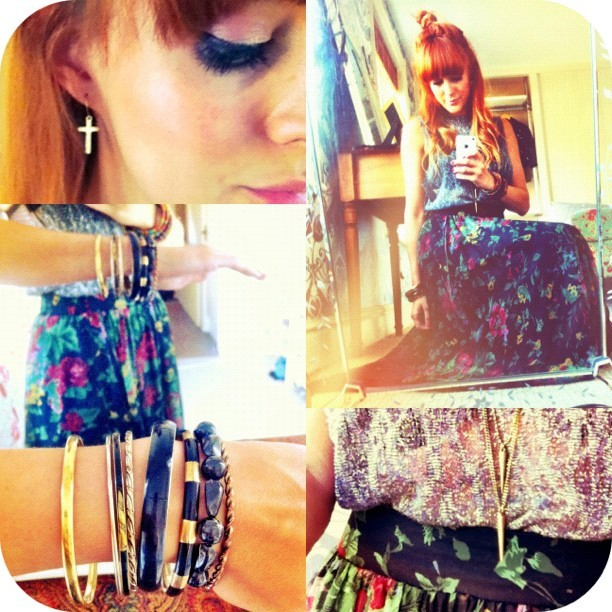 #todayimwearing my going-down-to-London-to-see-amazing-friends outfit. @topshop silver metallic cobweb tank, my charity shop find old m&s maxi skirt, tan AIDEN zip-up ankle boots, a long spike pendant necklace and a ton of gold and black bracelets for #armcandy. #fashion #style #outfit #blogger #photo #ootd #look #girl #selfportrait #luciekerley #camera+ #iphone #app #iphoneography #instagram #fashspiration  (Taken with  Instagram )