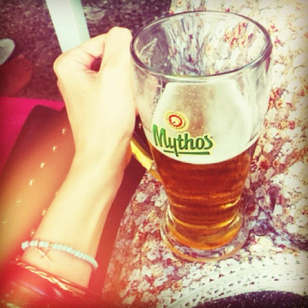 I swear this pint of Mythos is like lifting weights… @jmgcreative  (Taken with  Instagram )
