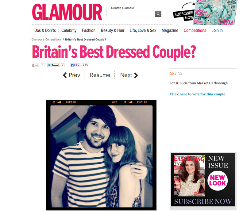 . @YBDfashion @EmilinaLove @RyryChung and friends! Please give @jmgcreative & I your vote for the @GlamourMagUK #BestDressedCouple @mywardrobe competition & a cheeky little RT when you've done it… Thank you xx