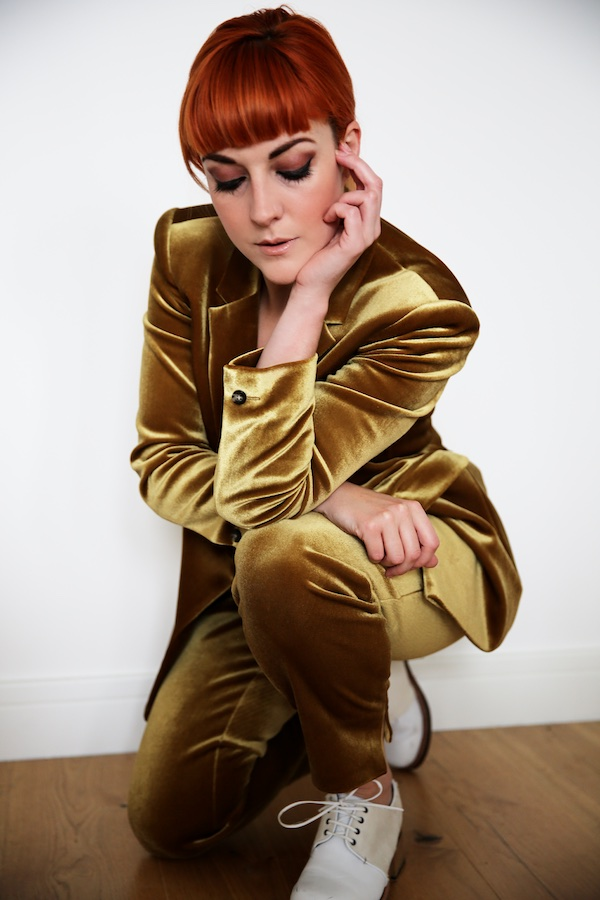 Lucie Loves Topshop Gold Velvet Suit 3