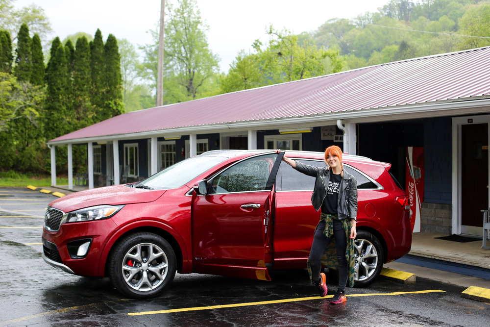 Our car for this US road trip was this trusty Kia Sorento SUV, pictured here in the Great Smoky Mountains