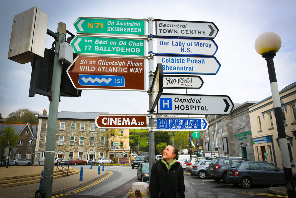 My friend, Antonia, standing under one of the Wild Atlantic Way signs that guided us up the west coast of Ireland