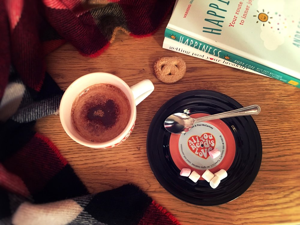 Hot chocolate happiness flatlay