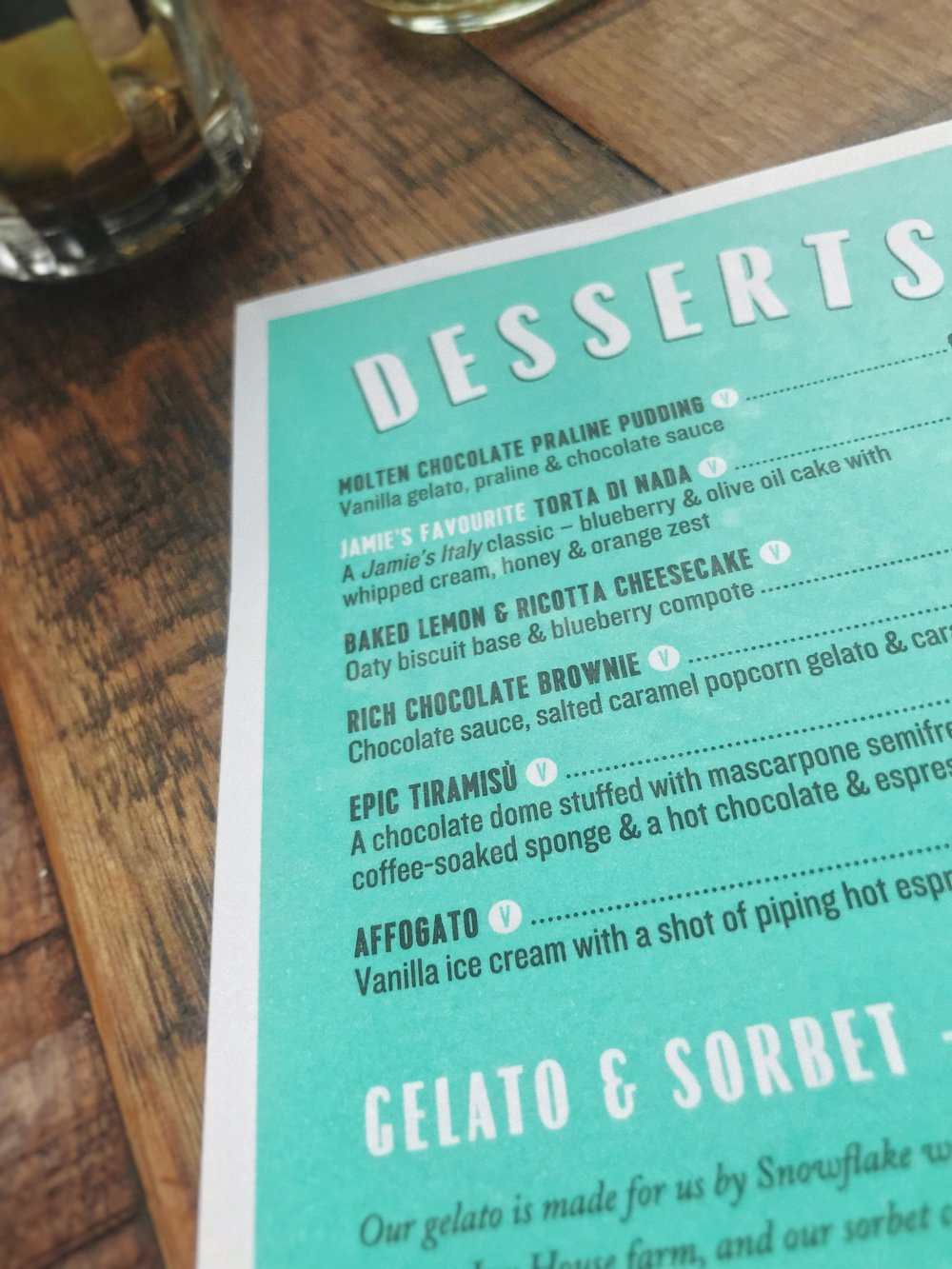 Dessert menu at Jamie's