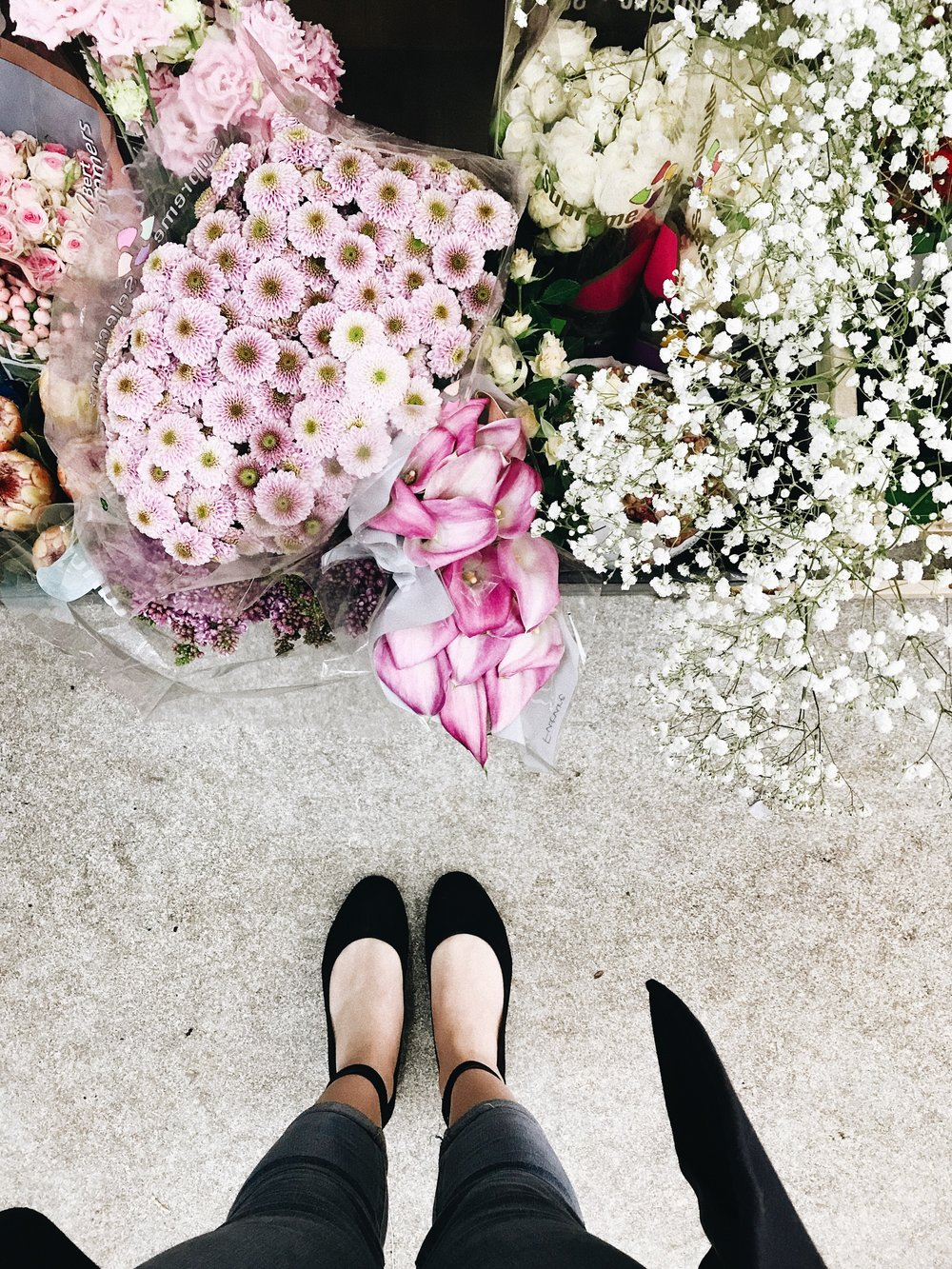 Breaking in my new shoes from & Other Stories with a walk to the local florist – there's around three in Mazamet