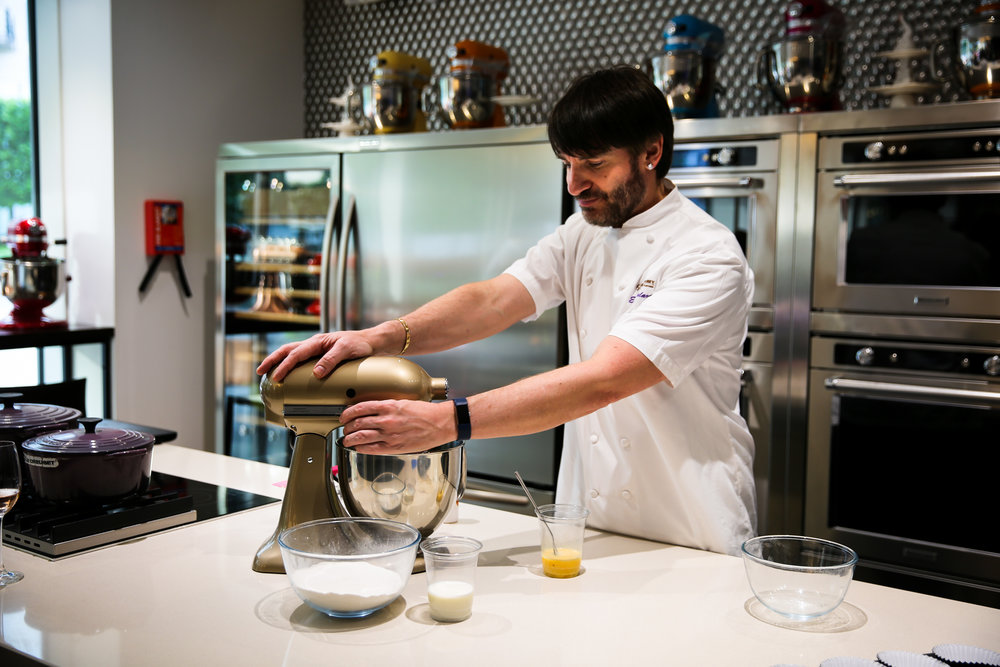 Eric Lanlard demonstrates how to prepare the perfect sponge mixture.