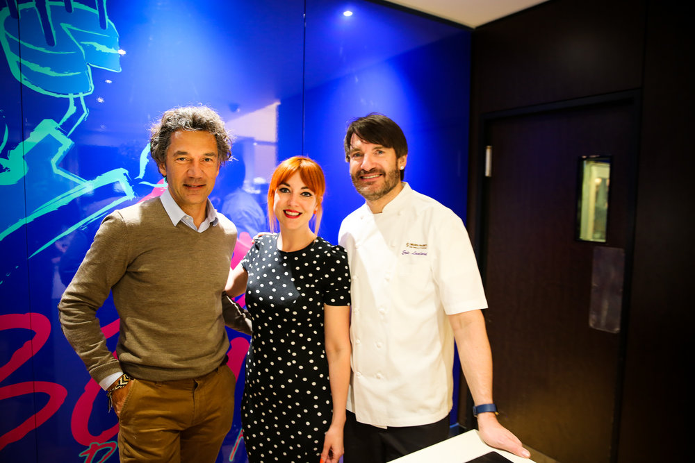 Jean-Claude Mas, Blogger Lucie Loves and Eric Lanlard pose for a pic at Cake Boy, Battersea.
