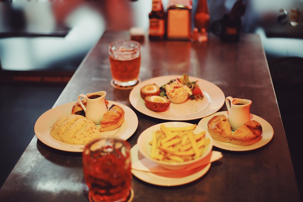 Our yummy spread at Piebury Corner – comfort food at its best. Pie and mash, lashings of gravy and beer