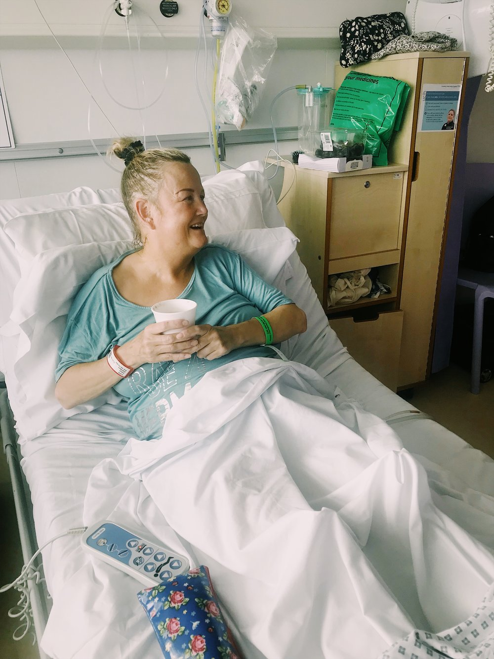Visiting my mum in hospital at UCLH, shortly after her second mesh removal operation