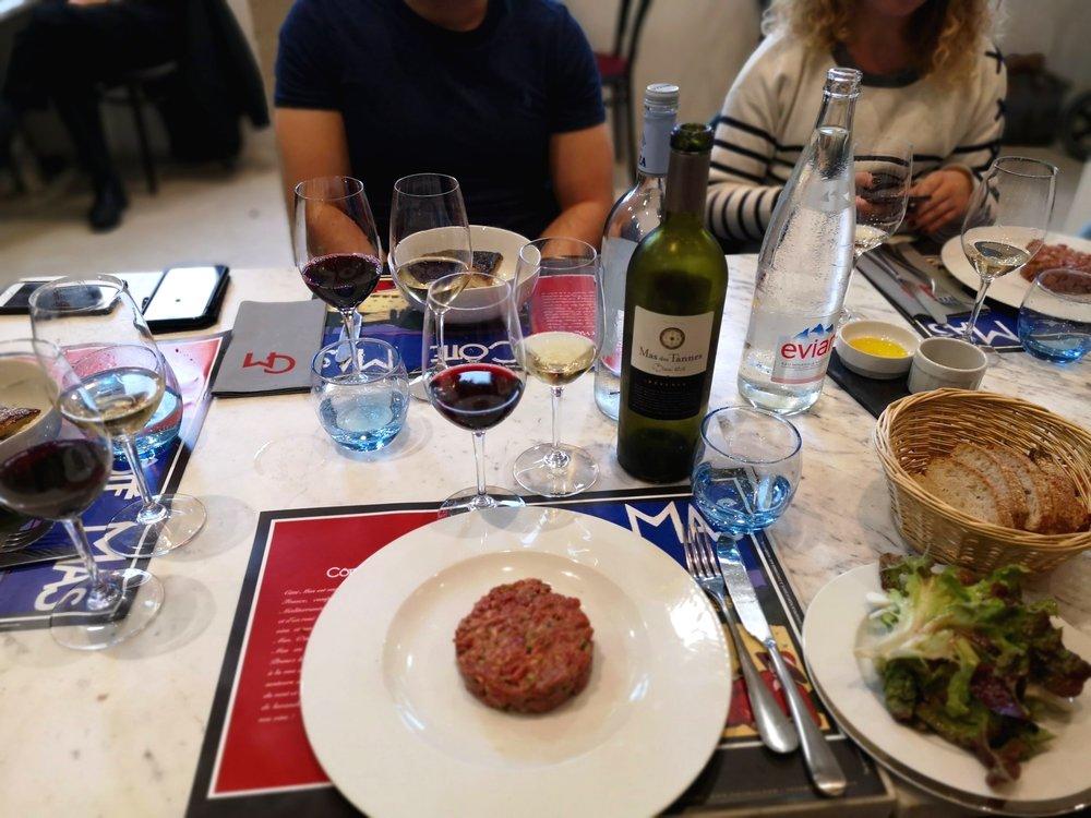 Steak tartare for at Côté Mas