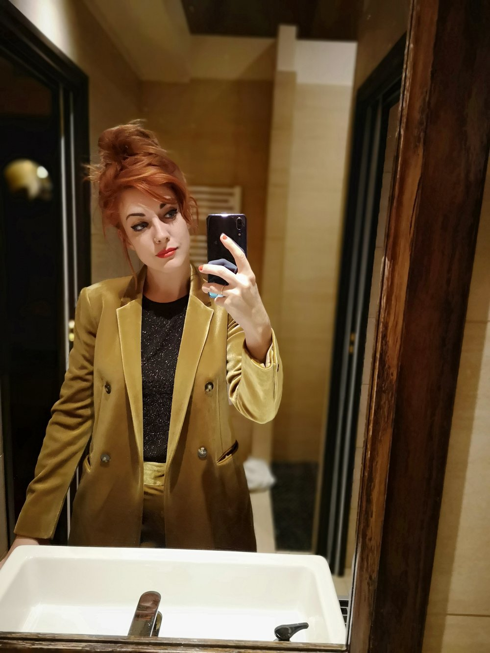 Tired face? Topshop gold velvet suit to the rescue…