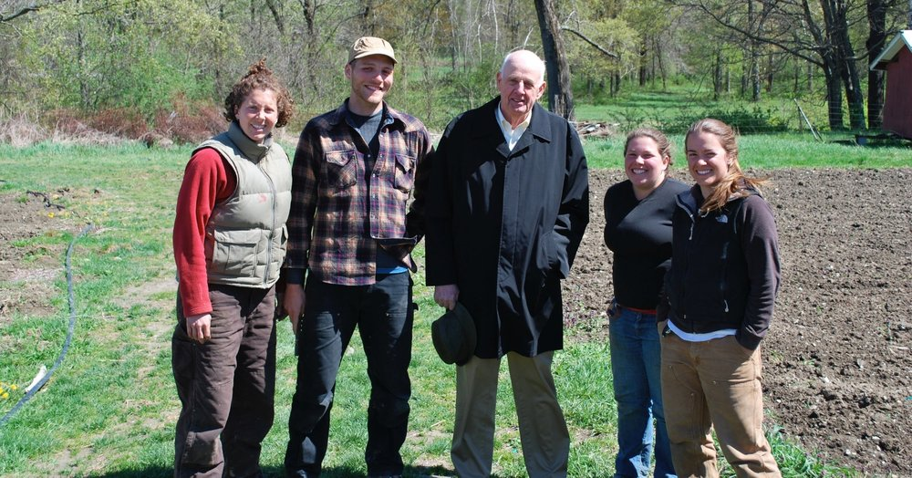 2010 Apprentices during a farm visit from writer/poet Wendell Berry