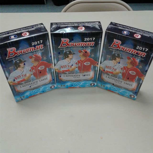 2017 Bowman Baseball is in stock now! Jumbo boxes are in now and Hobby boxes are on the way! Stop in and get this awesome product while we have it in stock, this one is going to go quick! #BowmanBaseball #Baseball #SportsCards