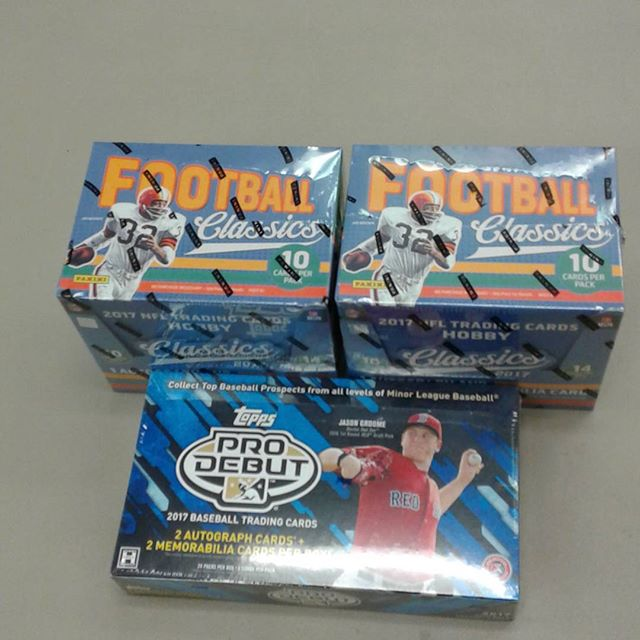 We have 2017 Panini Football Classics and 2017 Topps Pro Debut Baseball in stock now! Stop in and get yours for the lowest price around! #SportsCards #Panini #Topps #Football #Baseball
