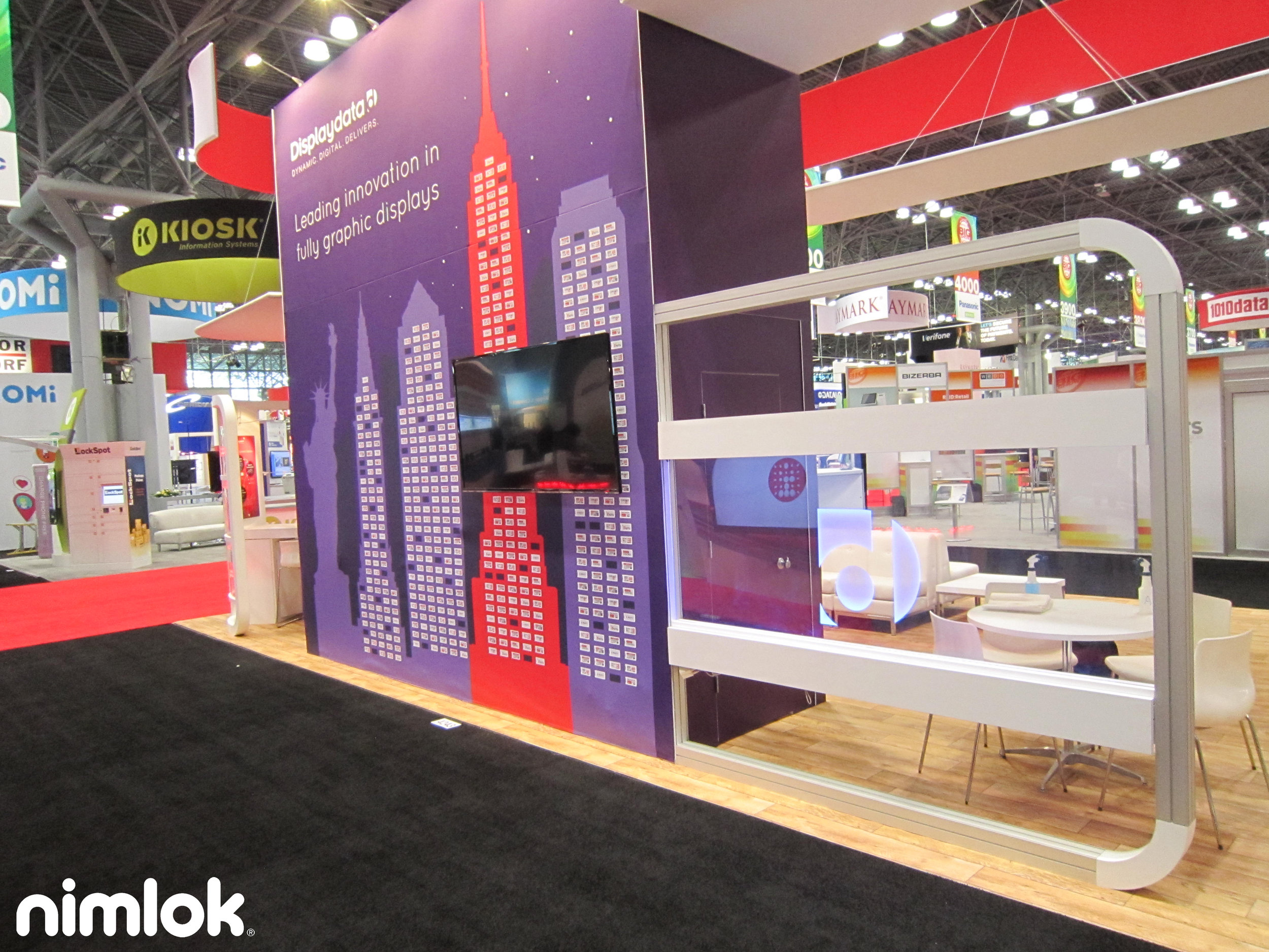 trade show booth with tv