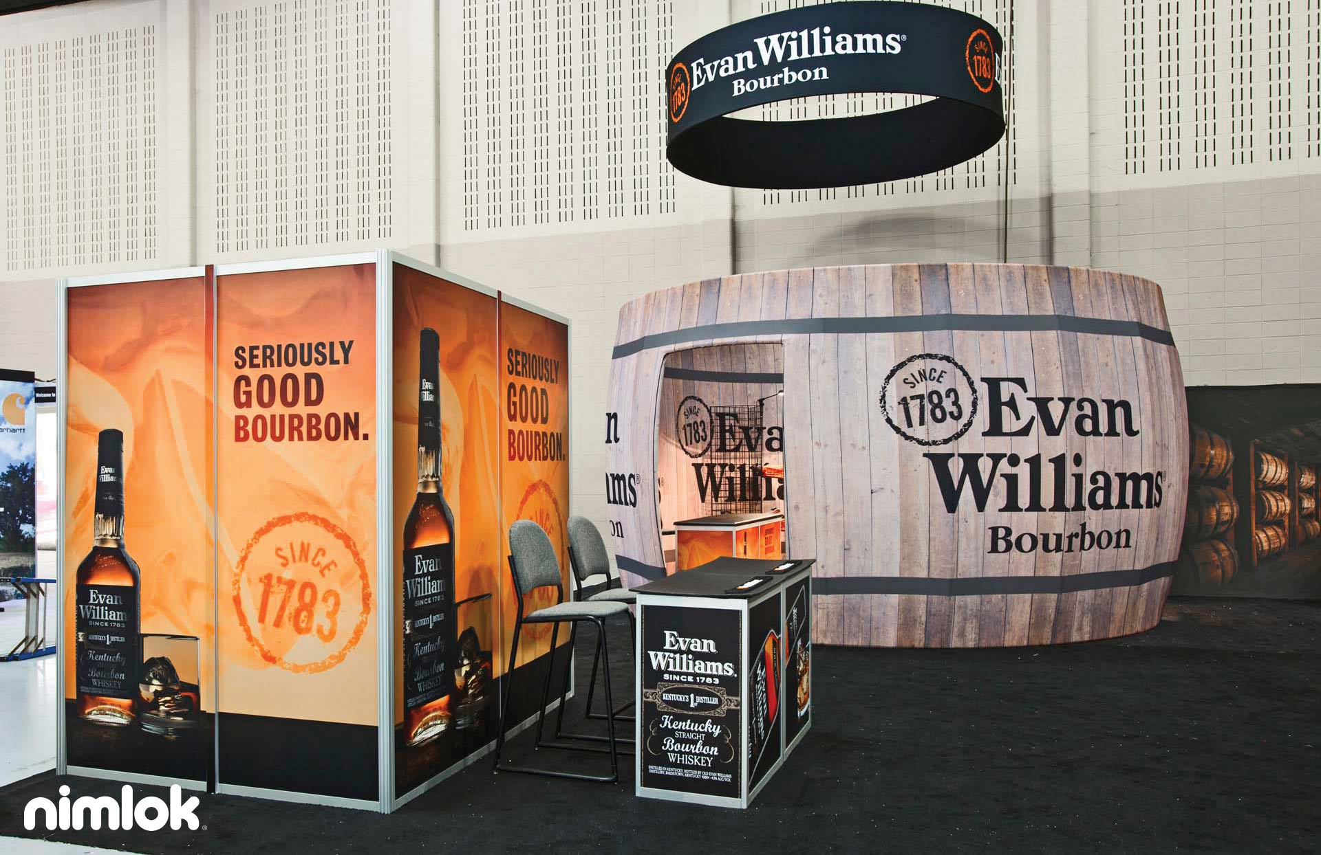 Evan Williams Bourbon Trade Show Booth 20x20 by Nimlok NYC