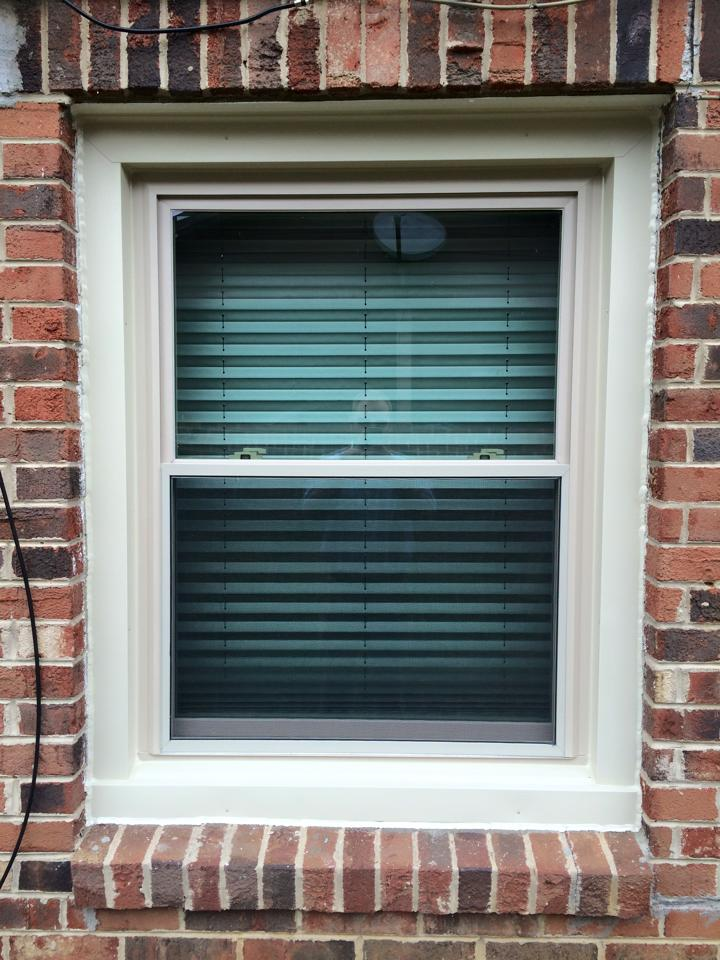 almond vinyl replacement window